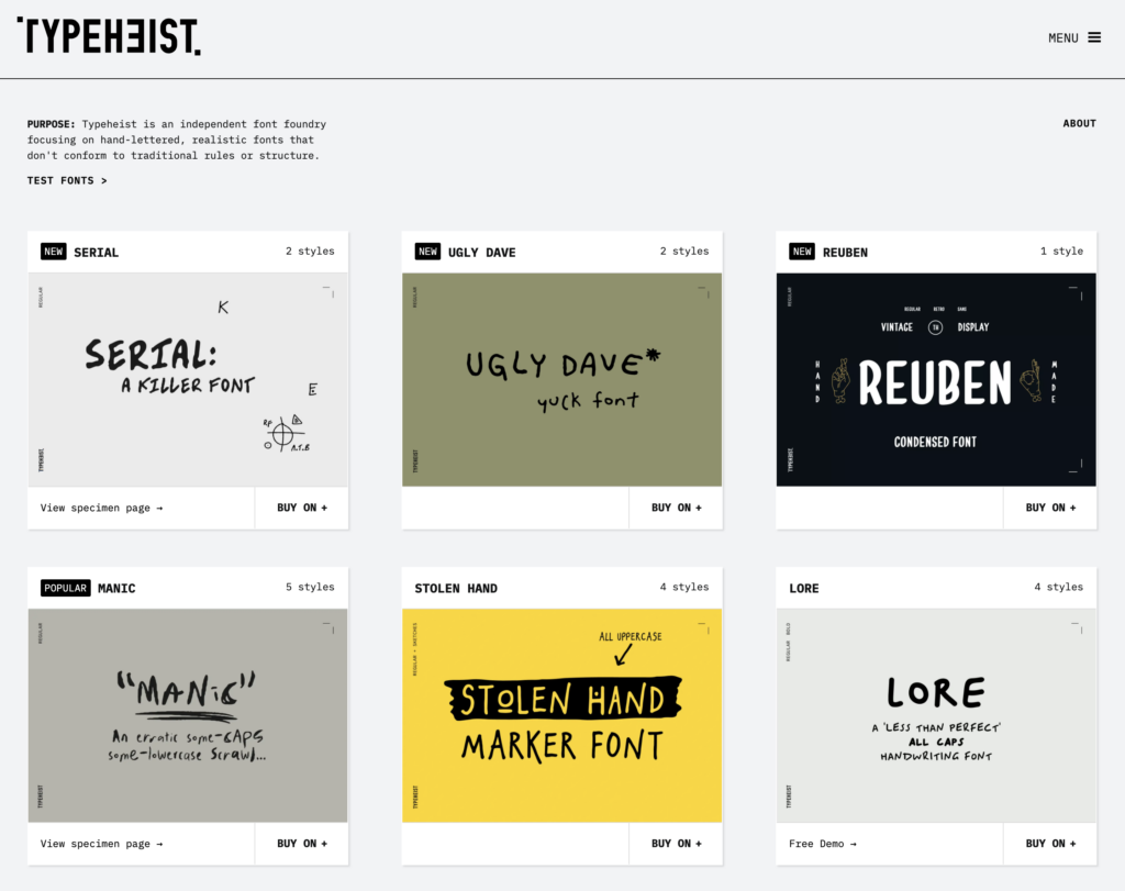 One-of-a-kind hand drawn fonts from Typeheist