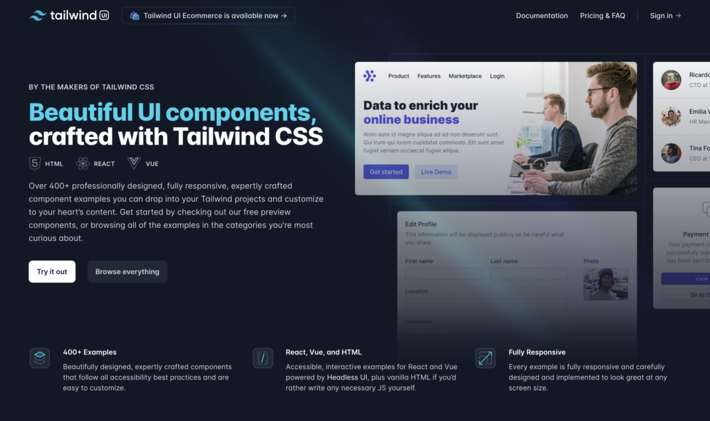 Get a head start using Tailwind CSS with Tailwind UI